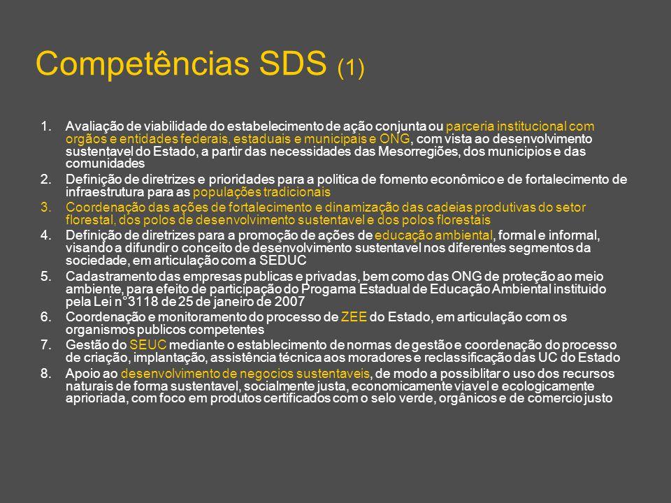 Competências SDS (1) 1.Avaliação de viabilidade do estabelecimento de ação conjunta ou parceria institucional com orgãos e entidades federais, estaduais e municipais e ONG, com vista ao desenvolvimento sustentavel do Estado, a partir das necessidades das Mesorregiões, dos municipios e das comunidades 2.Definição de diretrizes e prioridades para a politica de fomento econômico e de fortalecimento de infraestrutura para as populações tradicionais 3.Coordenação das ações de fortalecimento e dinamização das cadeias produtivas do setor florestal, dos polos de desenvolvimento sustentavel e dos polos florestais 4.Definição de diretrizes para a promoção de ações de educação ambiental, formal e informal, visando a difundir o conceito de desenvolvimento sustentavel nos diferentes segmentos da sociedade, em articulação com a SEDUC 5.Cadastramento das empresas publicas e privadas, bem como das ONG de proteção ao meio ambiente, para efeito de participação do Progama Estadual de Educação Ambiental instituido pela Lei n°3118 de 25 de janeiro de 2007 6.Coordenação e monitoramento do processo de ZEE do Estado, em articulação com os organismos publicos competentes 7.Gestão do SEUC mediante o establecimento de normas de gestão e coordenação do processo de criação, implantação, assistência técnica aos moradores e reclassificação das UC do Estado 8.Apoio ao desenvolvimento de negocios sustentaveis, de modo a possiblitar o uso dos recursos naturais de forma sustentavel, socialmente justa, economicamente viavel e ecologicamente aprioriada, com foco em produtos certificados com o selo verde, orgânicos e de comercio justo