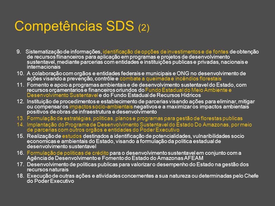 Competências SDS (2) 9. Sistematização de informações, identificação de opções de investimentos e de fontes de obtenção de recursos flinanceiros para