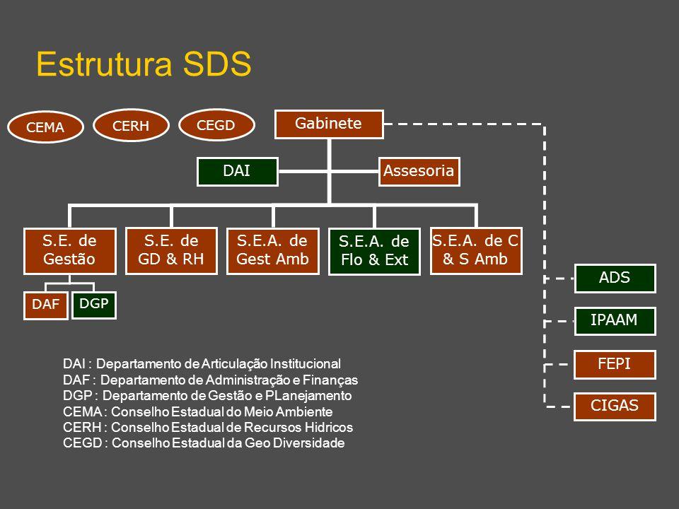 S.E. de Gestão S.E. de GD & RH S.E.A. de Gest Amb Estrutura SDS Gabinete DGP DAI : Departamento de Articulação Institucional DAF : Departamento de Adm