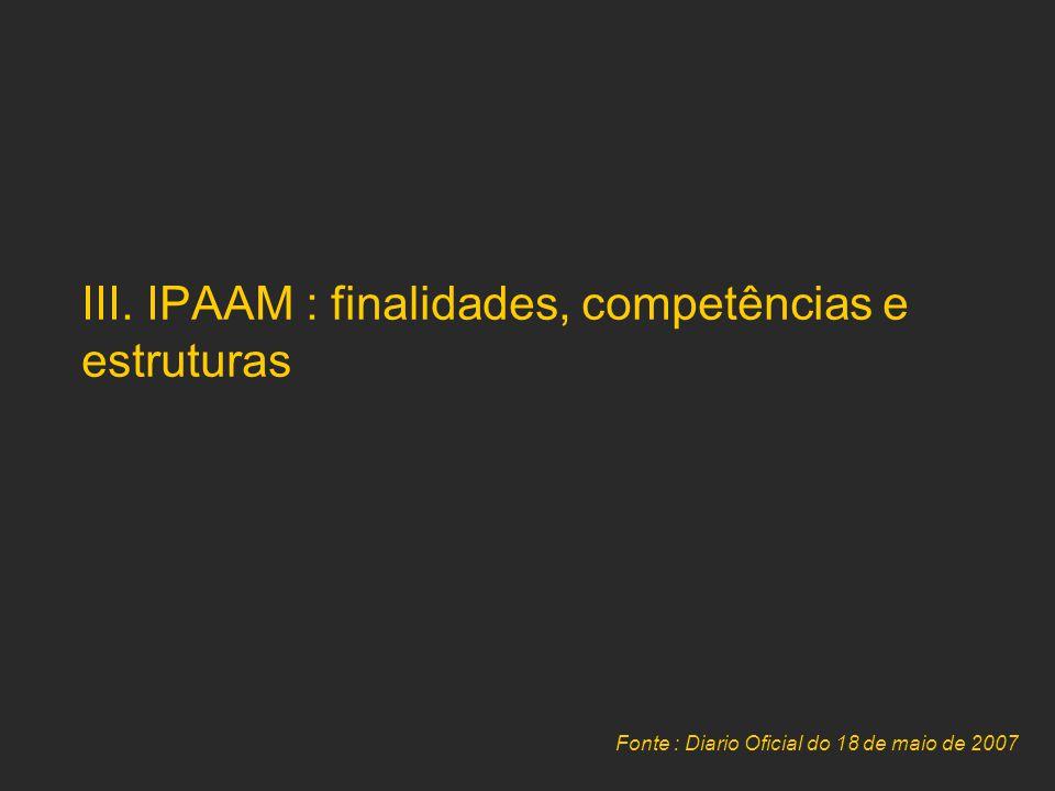III. IPAAM : finalidades, competências e estruturas Fonte : Diario Oficial do 18 de maio de 2007