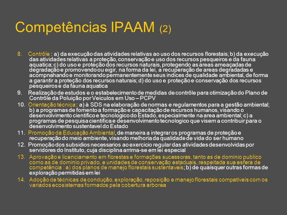Competências IPAAM (2) 8. Contrôle : a) da execução das atividades relativas ao uso dos recursos florestais; b) da execução das atividades relativas a