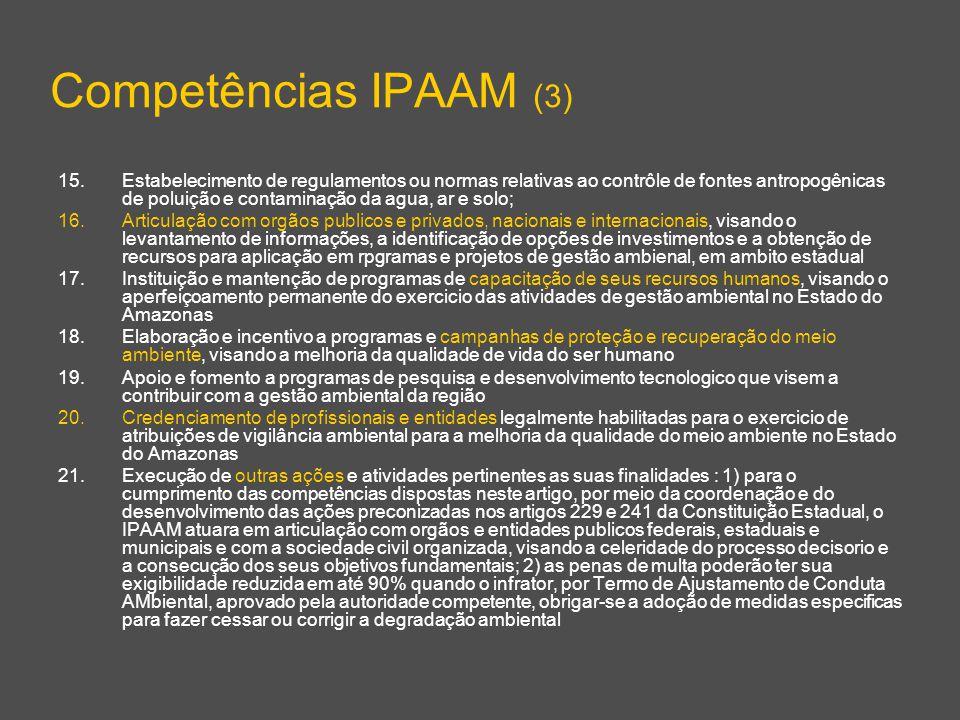 Competências IPAAM (3) 15.Estabelecimento de regulamentos ou normas relativas ao contrôle de fontes antropogênicas de poluição e contaminação da agua,