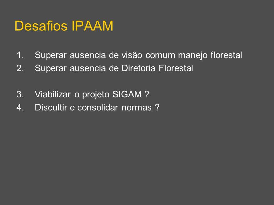 Desafios IPAAM 1.Superar ausencia de visão comum manejo florestal 2.Superar ausencia de Diretoria Florestal 3.Viabilizar o projeto SIGAM ? 4.Discultir