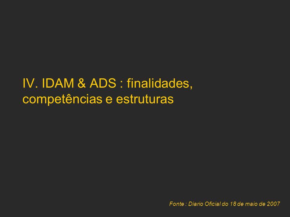 IV. IDAM & ADS : finalidades, competências e estruturas Fonte : Diario Oficial do 18 de maio de 2007