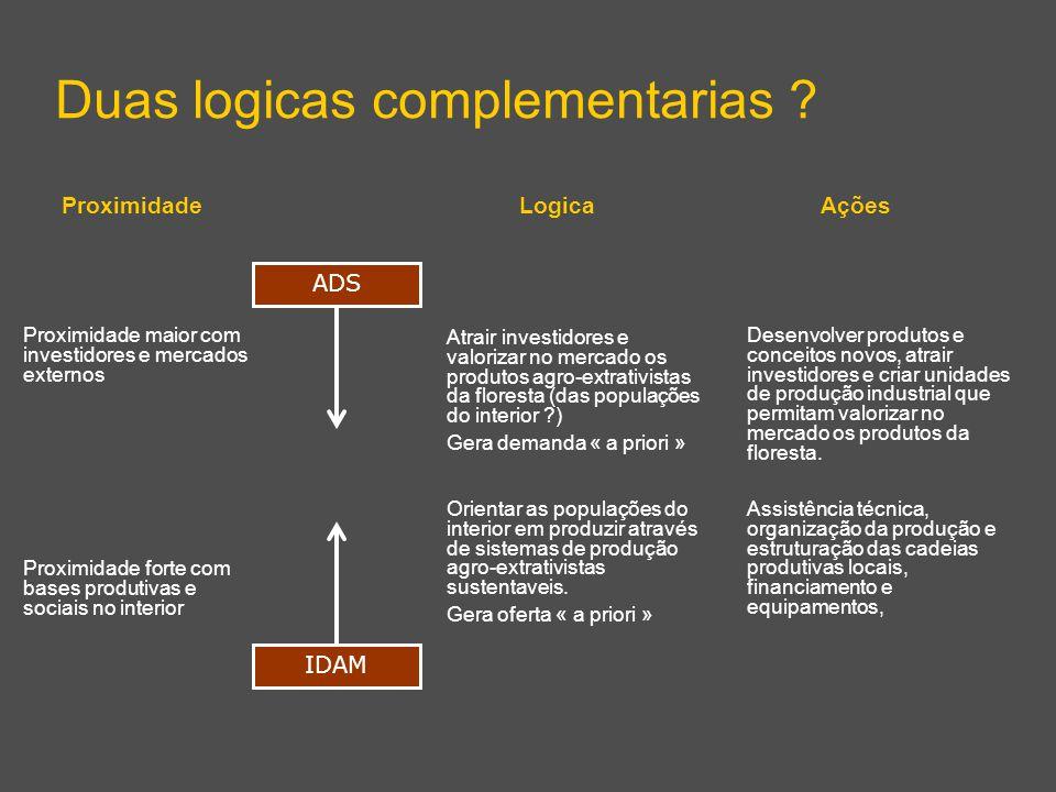 Duas logicas complementarias ? ADS IDAM Proximidade forte com bases produtivas e sociais no interior Proximidade maior com investidores e mercados ext