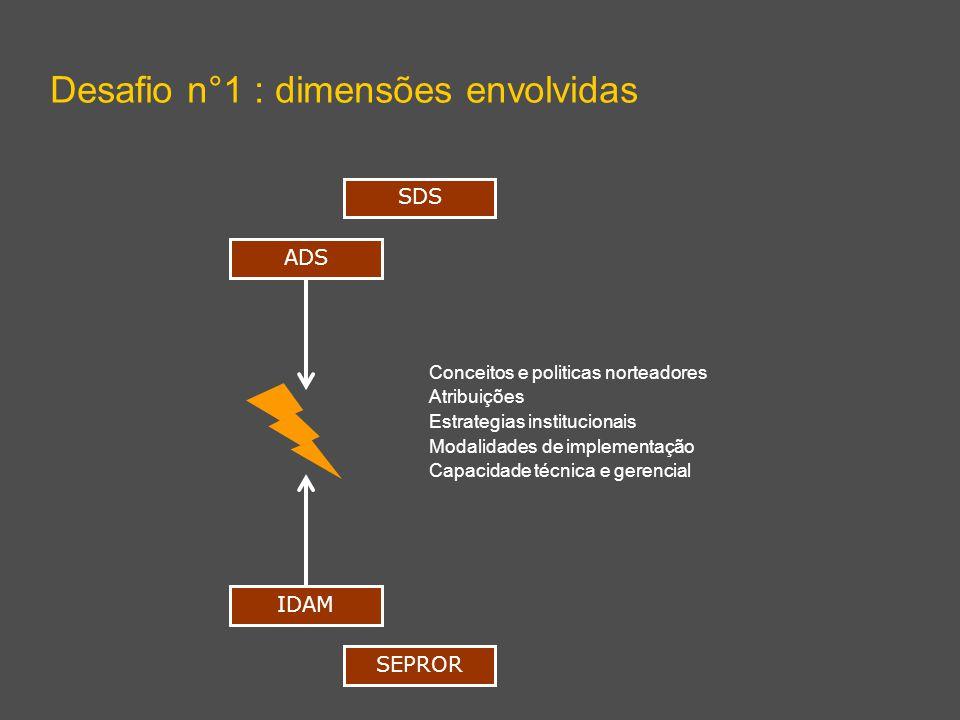 Desafio n°1 : dimensões envolvidas ADS IDAM Conceitos e politicas norteadores Atribuições Estrategias institucionais Modalidades de implementação Capacidade técnica e gerencial SDS SEPROR