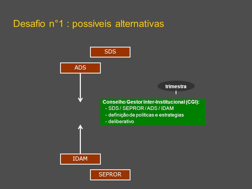 Desafio n°1 : possiveis alternativas ADS IDAM Conselho Gestor Inter-Institucional (CGI): - SDS / SEPROR / ADS / IDAM - definição de politicas e estrategias - deliberativo SDS SEPROR trimestra l