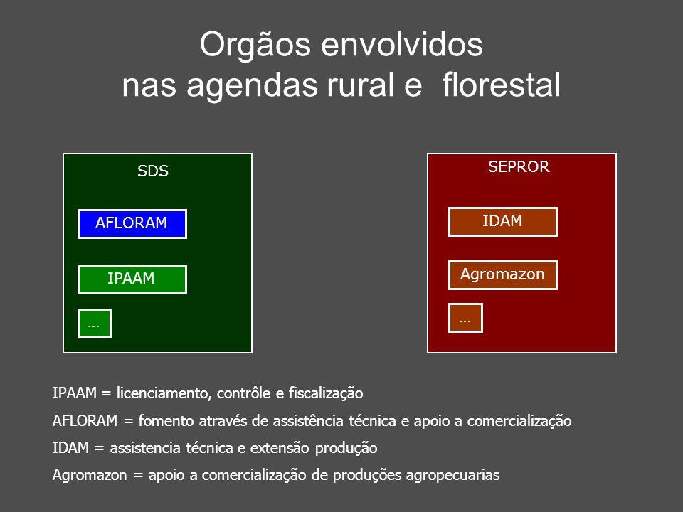 Orgãos envolvidos nas agendas rural e florestal IPAAM = licenciamento, contrôle e fiscalização AFLORAM = fomento através de assistência técnica e apoi