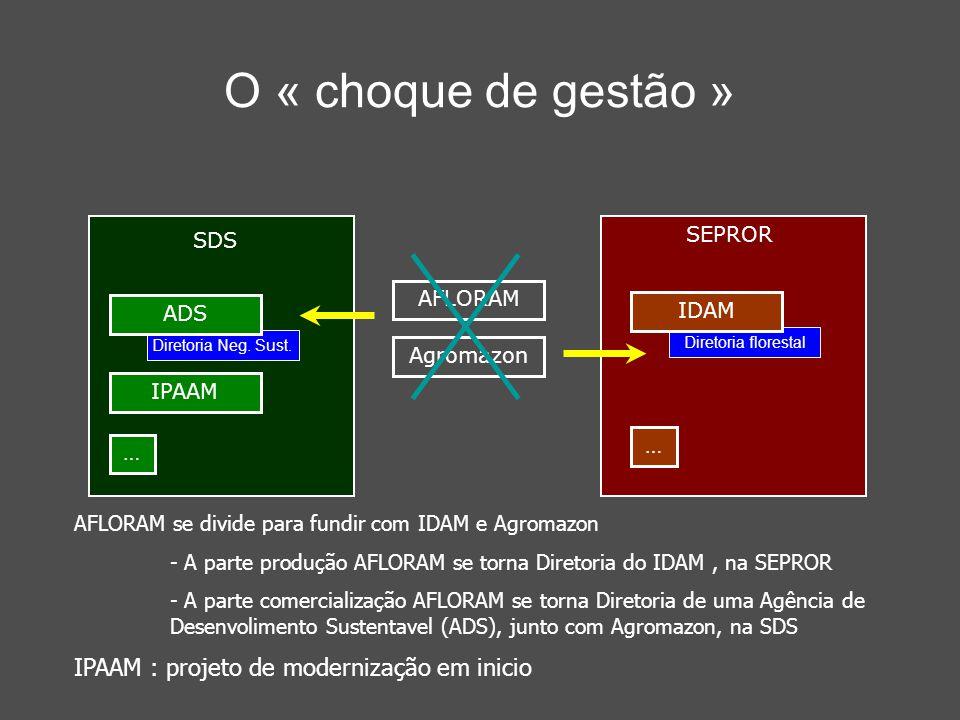 O « choque de gestão » AFLORAM se divide para fundir com IDAM e Agromazon - A parte produção AFLORAM se torna Diretoria do IDAM, na SEPROR - A parte comercialização AFLORAM se torna Diretoria de uma Agência de Desenvolimento Sustentavel (ADS), junto com Agromazon, na SDS IPAAM : projeto de modernização em inicio SDS IPAAM … SEPROR … Diretoria florestal IDAM Diretoria Neg.