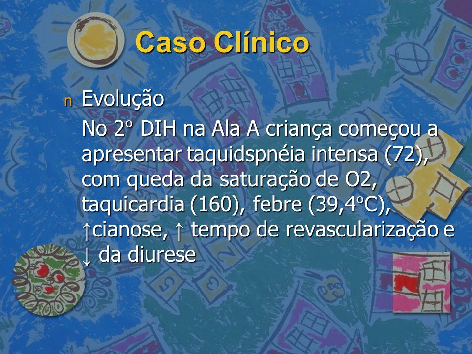 Caso Clínico n Evolução No 2 DIH na Ala A criança começou a apresentar taquidspnéia intensa (72), com queda da saturação de O2, taquicardia (160), feb