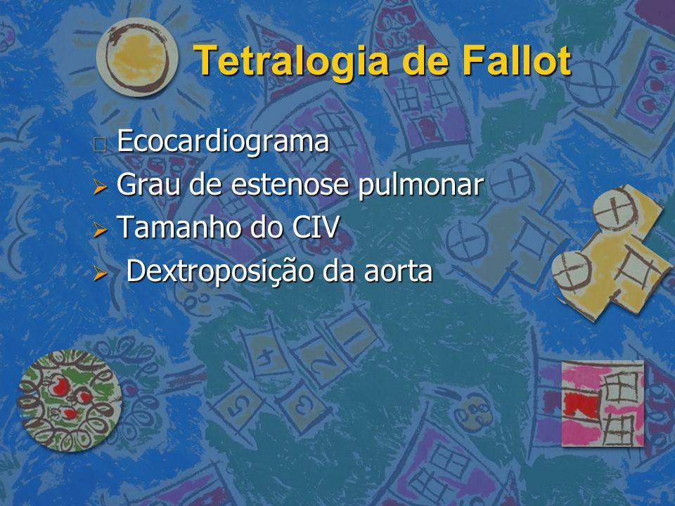 Tetralogia de Fallot n Ecocardiograma  Grau de estenose pulmonar  Tamanho do CIV  Dextroposição da aorta