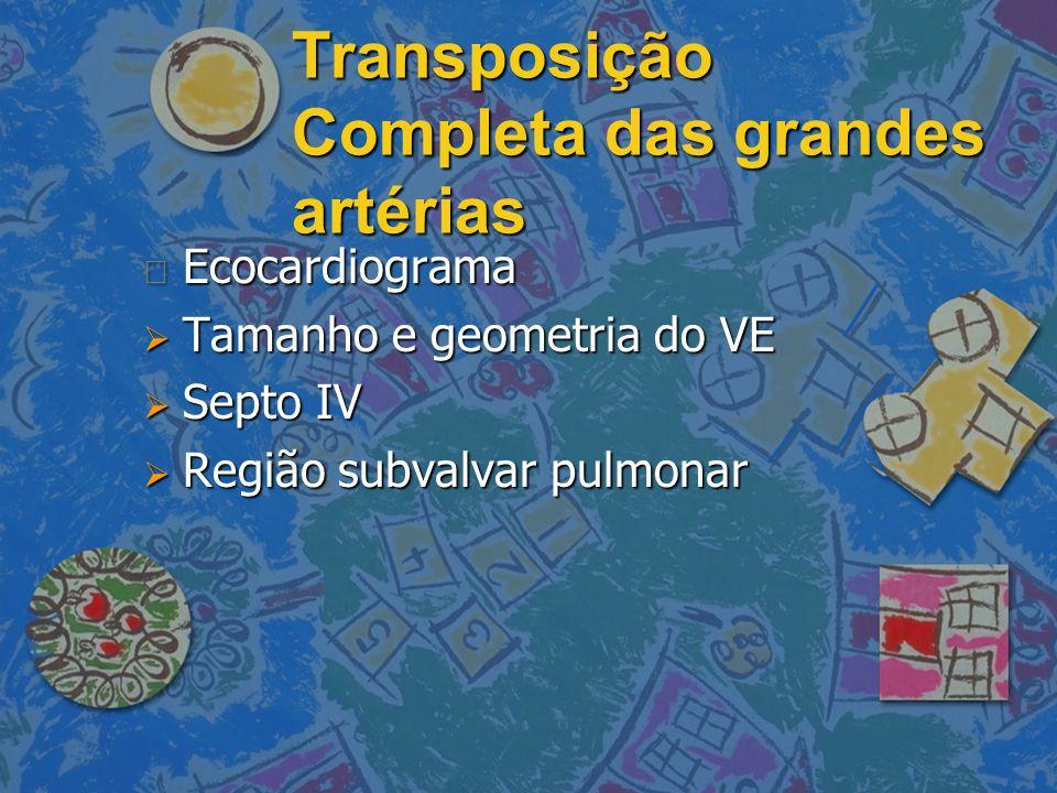 Transposição Completa das grandes artérias n Ecocardiograma  Tamanho e geometria do VE  Septo IV  Região subvalvar pulmonar