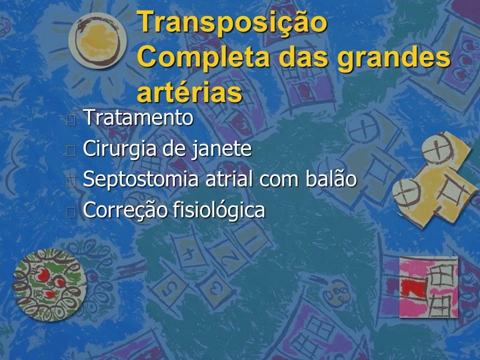 Transposição Completa das grandes artérias n Tratamento n Cirurgia de janete n Septostomia atrial com balão n Correção fisiológica
