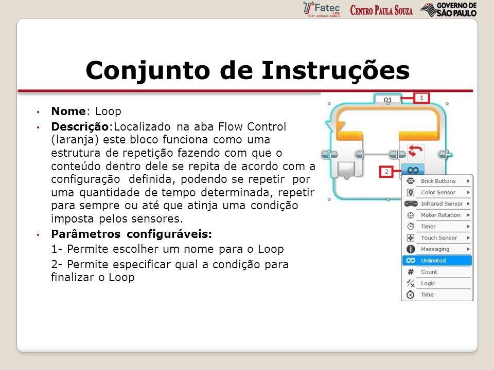 Conjunto de Instruções Nome: Loop Descrição:Localizado na aba Flow Control (laranja) este bloco funciona como uma estrutura de repetição fazendo com q