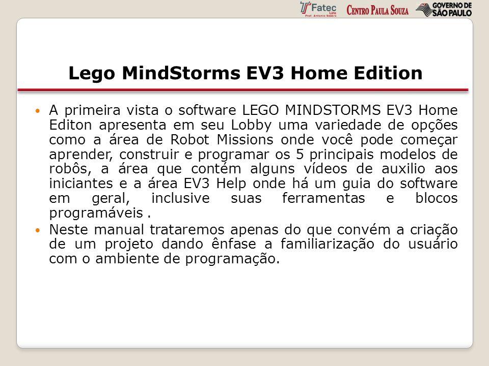 Lego MindStorms EV3 Home Edition A primeira vista o software LEGO MINDSTORMS EV3 Home Editon apresenta em seu Lobby uma variedade de opções como a áre