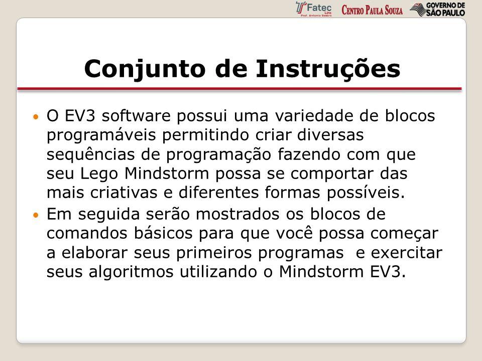 Conjunto de Instruções O EV3 software possui uma variedade de blocos programáveis permitindo criar diversas sequências de programação fazendo com que
