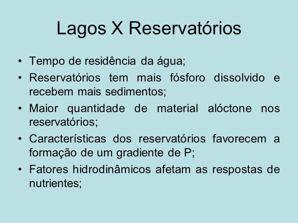Lagos X Reservatórios Tempo de residência da água; Reservatórios tem mais fósforo dissolvido e recebem mais sedimentos; Maior quantidade de material a