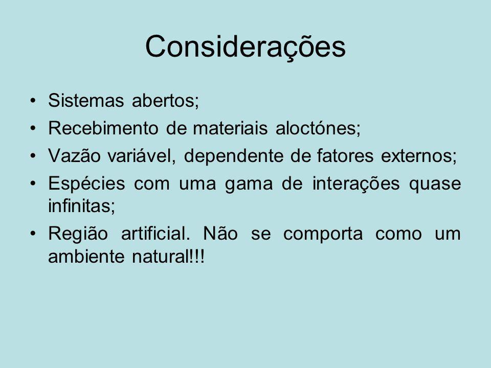 Considerações Sistemas abertos; Recebimento de materiais aloctónes; Vazão variável, dependente de fatores externos; Espécies com uma gama de interaçõe