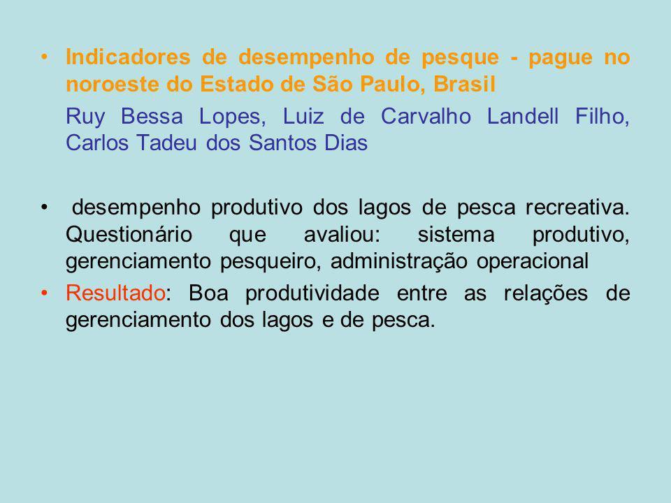 Indicadores de desempenho de pesque - pague no noroeste do Estado de São Paulo, Brasil Ruy Bessa Lopes, Luiz de Carvalho Landell Filho, Carlos Tadeu d