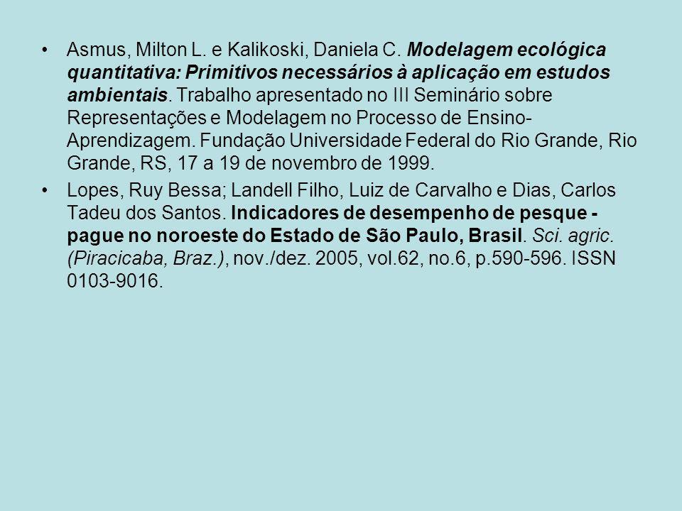 Asmus, Milton L. e Kalikoski, Daniela C. Modelagem ecológica quantitativa: Primitivos necessários à aplicação em estudos ambientais. Trabalho apresent