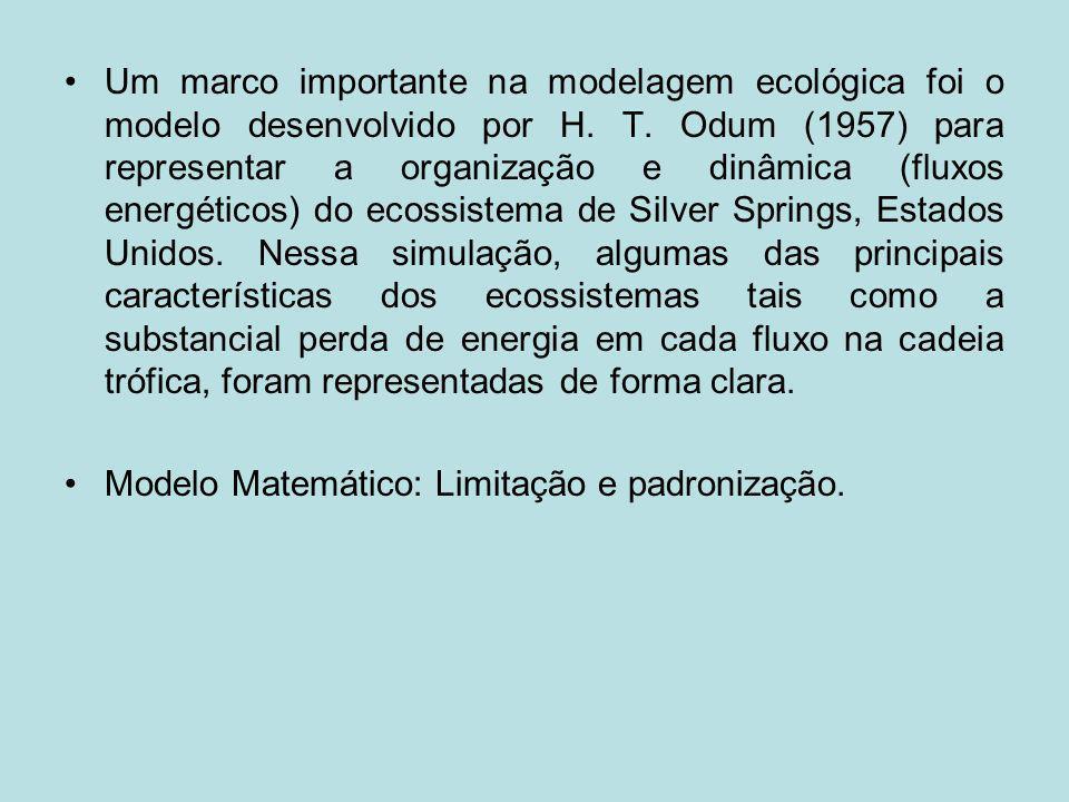 Um marco importante na modelagem ecológica foi o modelo desenvolvido por H. T. Odum (1957) para representar a organização e dinâmica (fluxos energétic