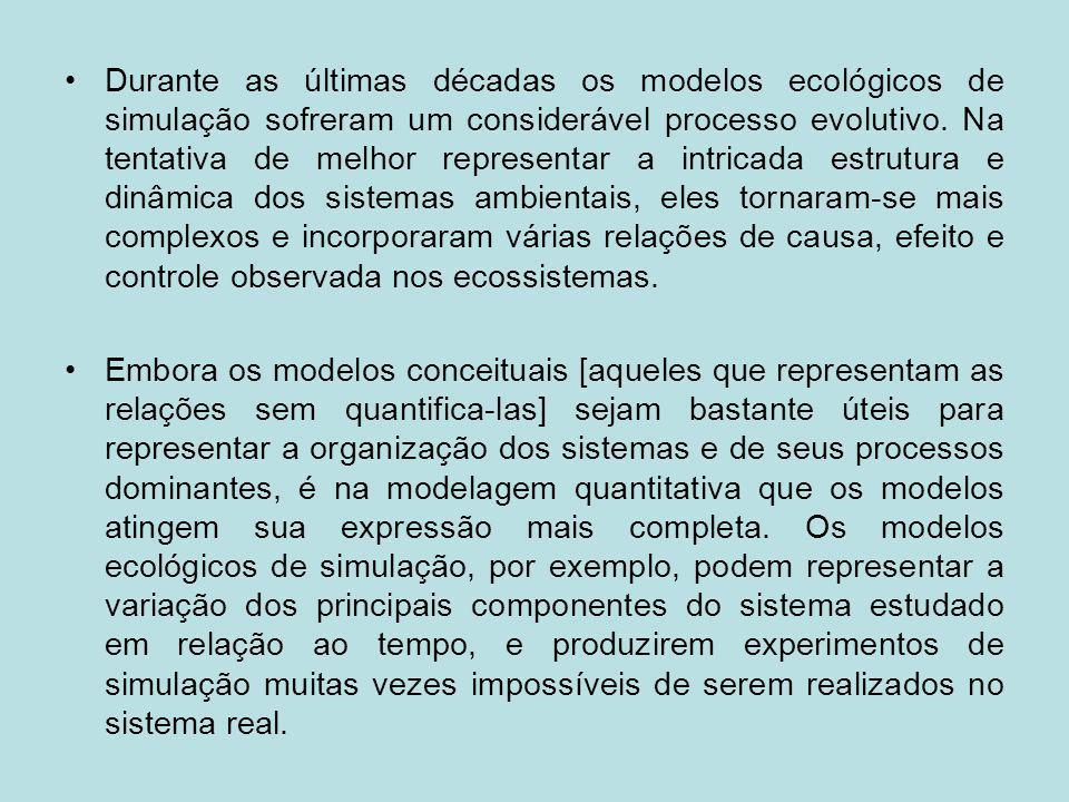 Durante as últimas décadas os modelos ecológicos de simulação sofreram um considerável processo evolutivo. Na tentativa de melhor representar a intric