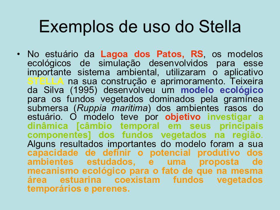 Exemplos de uso do Stella No estuário da Lagoa dos Patos, RS, os modelos ecológicos de simulação desenvolvidos para esse importante sistema ambiental,