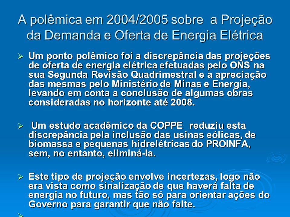 A polêmica em 2004/2005 sobre a Projeção da Demanda e Oferta de Energia Elétrica  Um ponto polêmico foi a discrepância das projeções de oferta de energia elétrica efetuadas pelo ONS na sua Segunda Revisão Quadrimestral e a apreciação das mesmas pelo Ministério de Minas e Energia, levando em conta a conclusão de algumas obras consideradas no horizonte até 2008.