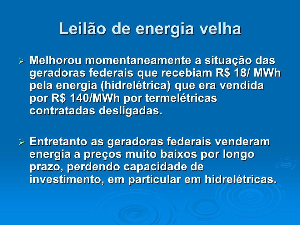 Leilão de energia velha  Melhorou momentaneamente a situação das geradoras federais que recebiam R$ 18/ MWh pela energia (hidrelétrica) que era vendida por R$ 140/MWh por termelétricas contratadas desligadas.