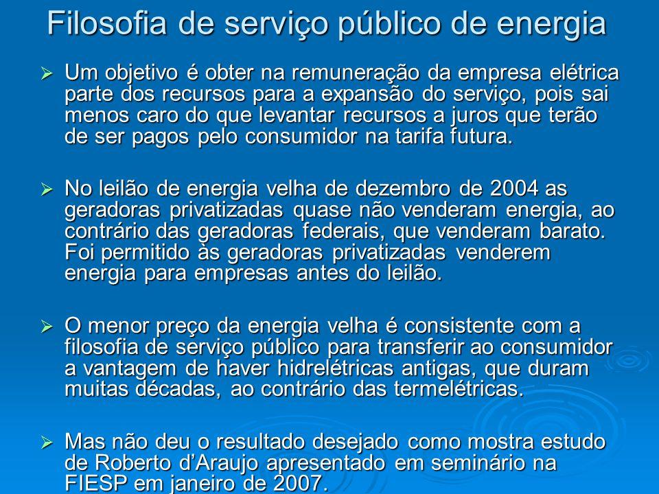 Filosofia de serviço público de energia  Um objetivo é obter na remuneração da empresa elétrica parte dos recursos para a expansão do serviço, pois sai menos caro do que levantar recursos a juros que terão de ser pagos pelo consumidor na tarifa futura.