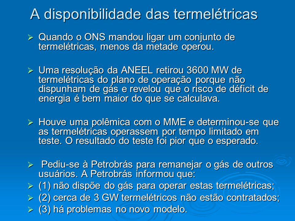 A disponibilidade das termelétricas  Quando o ONS mandou ligar um conjunto de termelétricas, menos da metade operou.  Uma resolução da ANEEL retirou