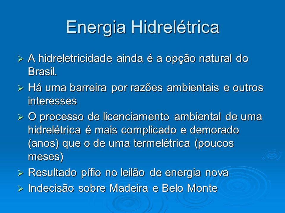 Energia Hidrelétrica  A hidreletricidade ainda é a opção natural do Brasil.  Há uma barreira por razões ambientais e outros interesses  O processo