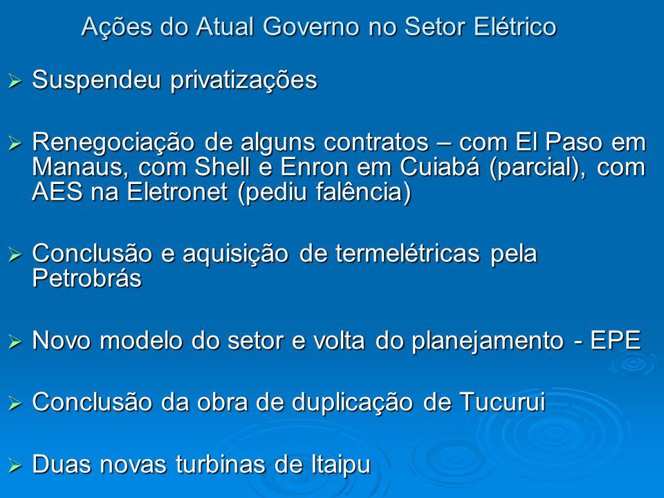 Ações do Atual Governo no Setor Elétrico  Suspendeu privatizações  Renegociação de alguns contratos – com El Paso em Manaus, com Shell e Enron em Cuiabá (parcial), com AES na Eletronet (pediu falência)  Conclusão e aquisição de termelétricas pela Petrobrás  Novo modelo do setor e volta do planejamento - EPE  Conclusão da obra de duplicação de Tucurui  Duas novas turbinas de Itaipu