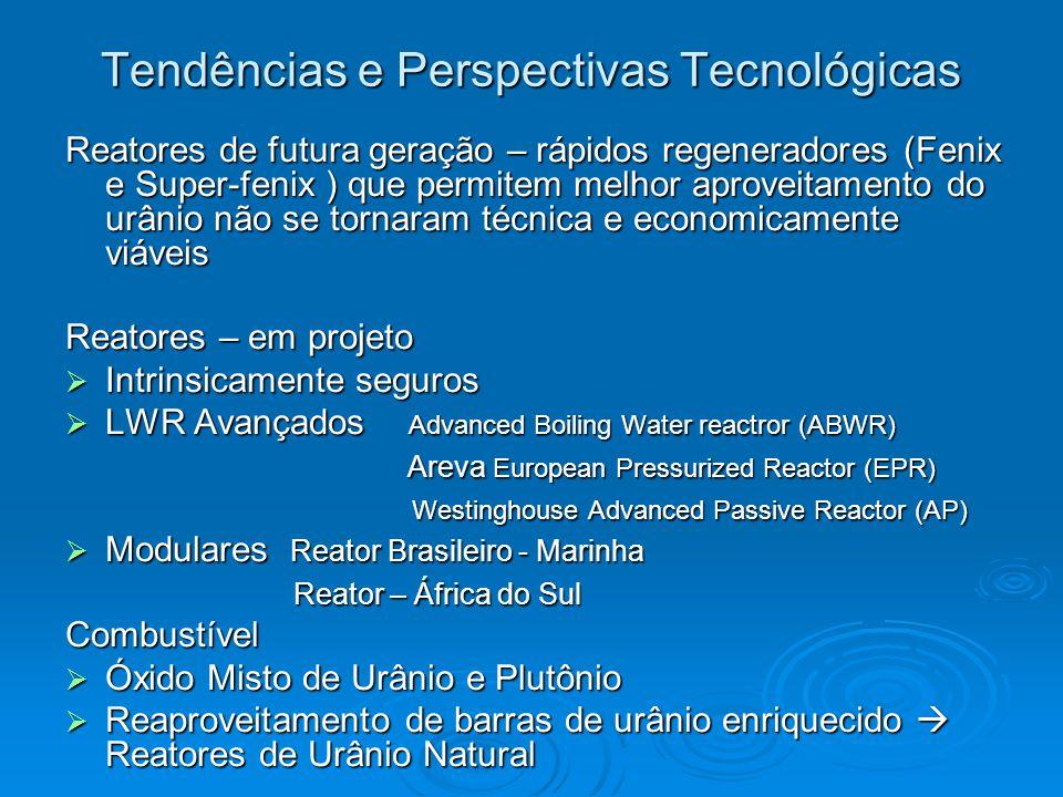 Tendências e Perspectivas Tecnológicas Reatores de futura geração – rápidos regeneradores (Fenix e Super-fenix ) que permitem melhor aproveitamento do urânio não se tornaram técnica e economicamente viáveis Reatores – em projeto  Intrinsicamente seguros  LWR Avançados Advanced Boiling Water reactror (ABWR) Areva European Pressurized Reactor (EPR) Areva European Pressurized Reactor (EPR) Westinghouse Advanced Passive Reactor (AP) Westinghouse Advanced Passive Reactor (AP)  Modulares Reator Brasileiro - Marinha Reator – África do Sul Reator – África do SulCombustível  Óxido Misto de Urânio e Plutônio  Reaproveitamento de barras de urânio enriquecido  Reatores de Urânio Natural