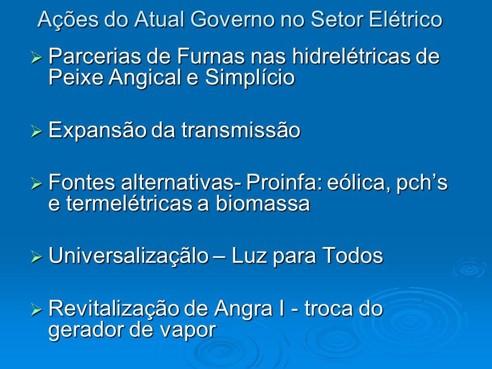 Ações do Atual Governo no Setor Elétrico  Parcerias de Furnas nas hidrelétricas de Peixe Angical e Simplício  Expansão da transmissão  Fontes alter
