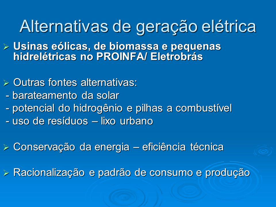 Alternativas de geração elétrica  Usinas eólicas, de biomassa e pequenas hidrelétricas no PROINFA/ Eletrobrás  Outras fontes alternativas: - barateamento da solar - barateamento da solar - potencial do hidrogênio e pilhas a combustível - potencial do hidrogênio e pilhas a combustível - uso de resíduos – lixo urbano - uso de resíduos – lixo urbano  Conservação da energia – eficiência técnica  Racionalização e padrão de consumo e produção