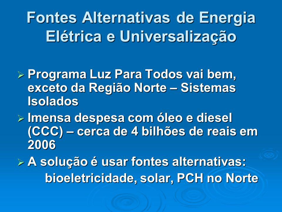 Fontes Alternativas de Energia Elétrica e Universalização  Programa Luz Para Todos vai bem, exceto da Região Norte – Sistemas Isolados  Imensa despe