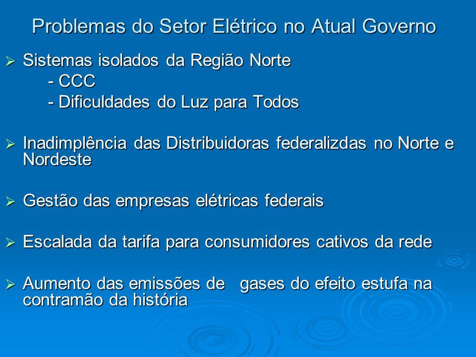 Problemas do Setor Elétrico no Atual Governo  Sistemas isolados da Região Norte - CCC - CCC - Dificuldades do Luz para Todos - Dificuldades do Luz pa