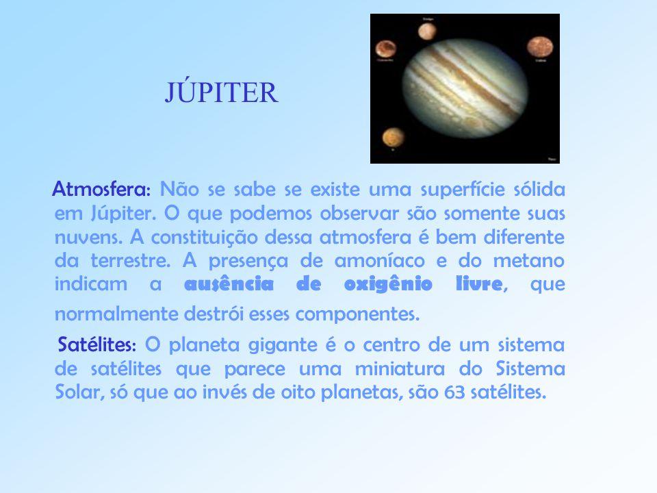 Atmosfera: Não se sabe se existe uma superfície sólida em Júpiter.