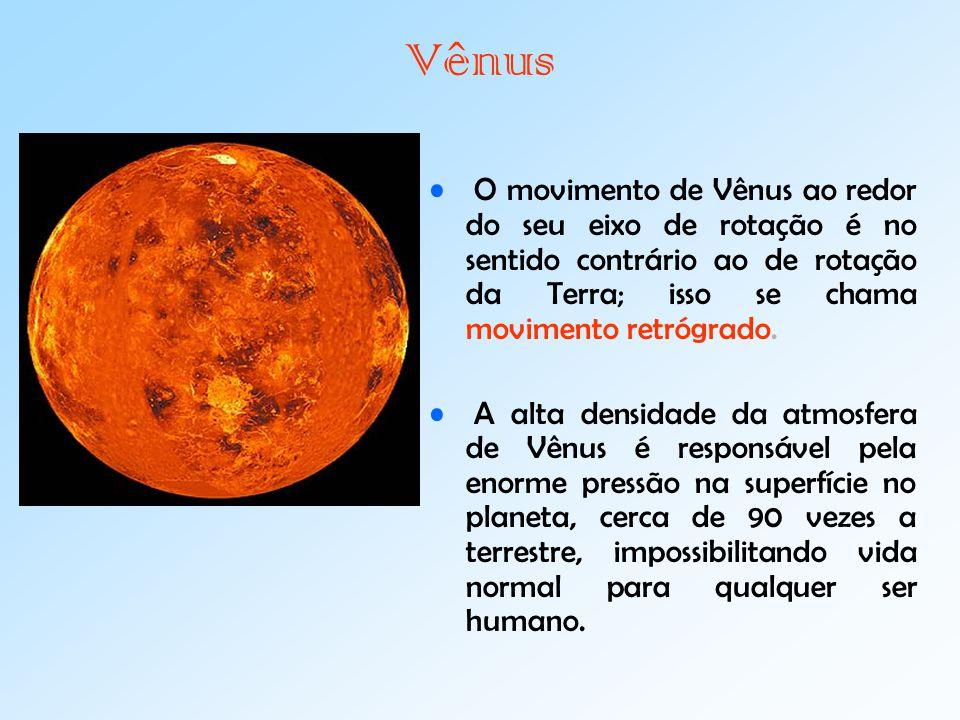Vênus O movimento de Vênus ao redor do seu eixo de rotação é no sentido contrário ao de rotação da Terra; isso se chama movimento retrógrado.