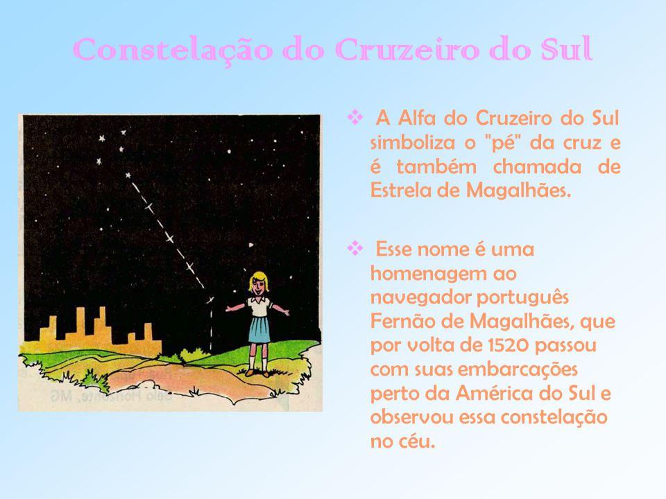 Constelação do Cruzeiro do Sul  A Alfa do Cruzeiro do Sul simboliza o pé da cruz e é também chamada de Estrela de Magalhães.
