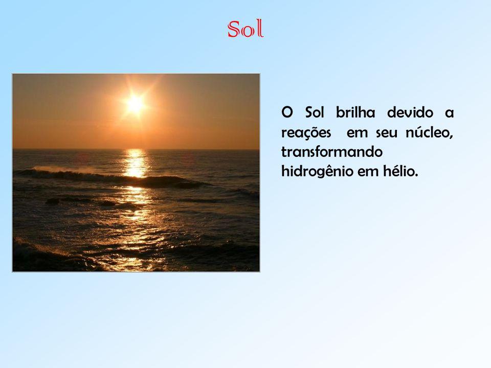 Sol O Sol brilha devido a reações em seu núcleo, transformando hidrogênio em hélio.