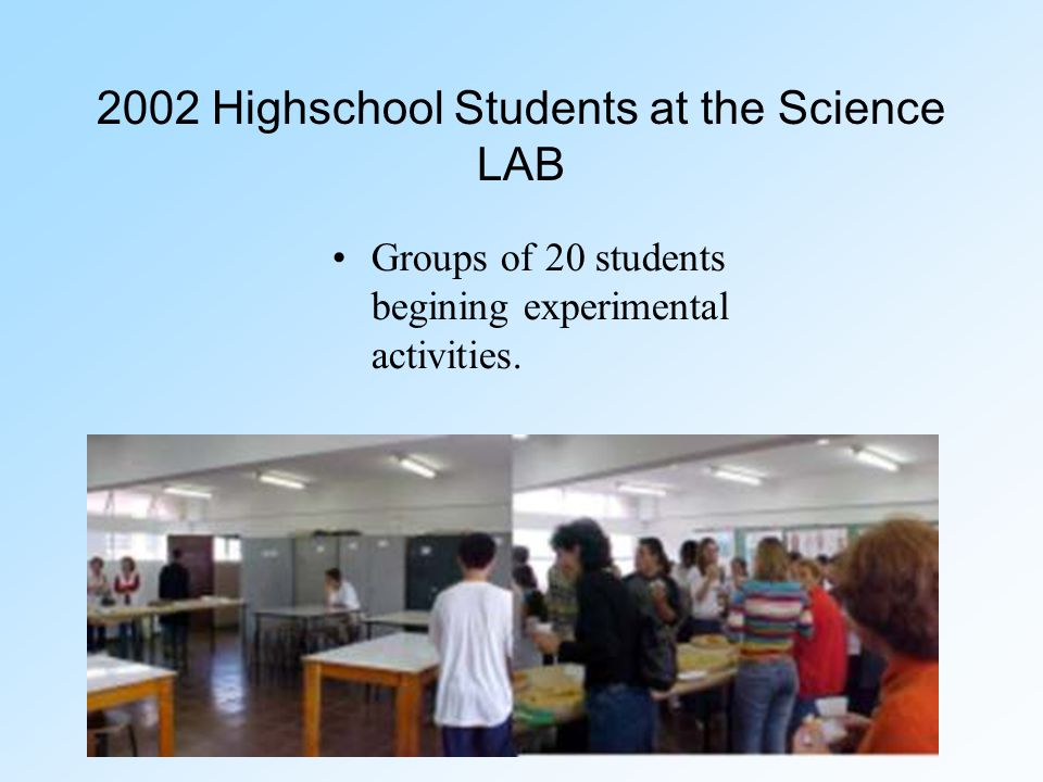 2002 Highschool Students at the Science LAB Groups of 20 students begining experimental activities.
