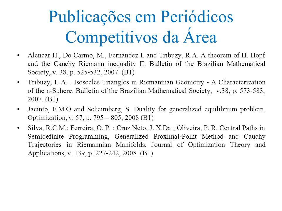 Publicações em Periódicos Competitivos da Área Alencar H., Do Carmo, M., Fernández I.