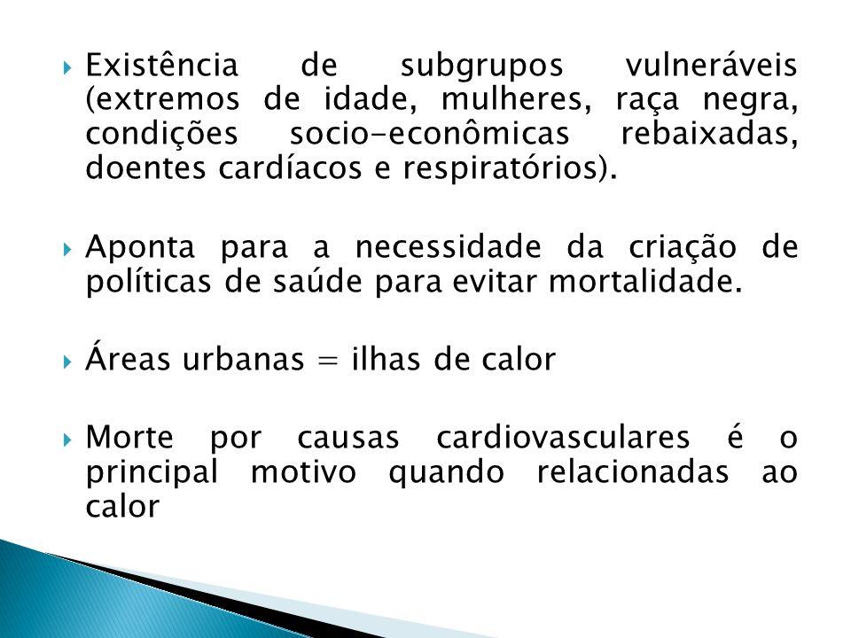  Existência de subgrupos vulneráveis (extremos de idade, mulheres, raça negra, condições socio-econômicas rebaixadas, doentes cardíacos e respiratórios).