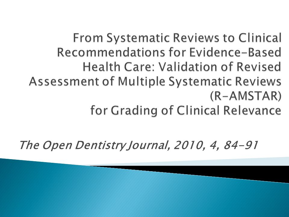 The Open Dentistry Journal, 2010, 4, 84-91