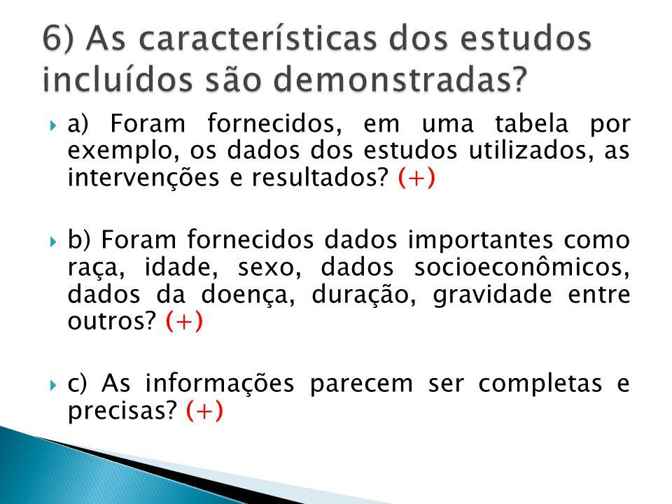  a) Foram fornecidos, em uma tabela por exemplo, os dados dos estudos utilizados, as intervenções e resultados.