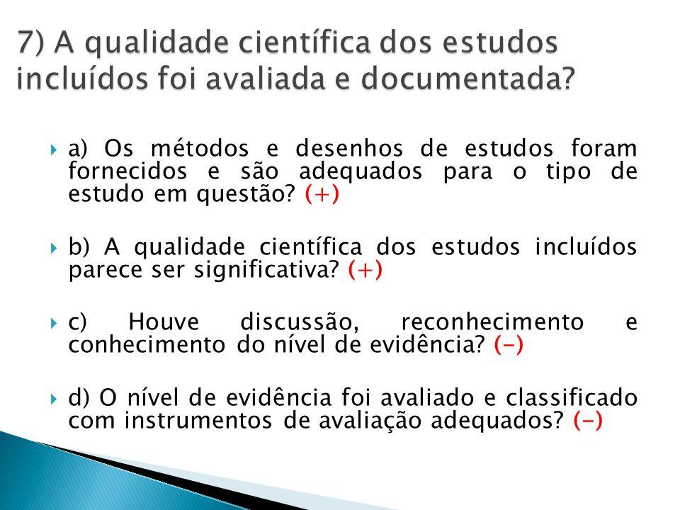  a) Os métodos e desenhos de estudos foram fornecidos e são adequados para o tipo de estudo em questão.