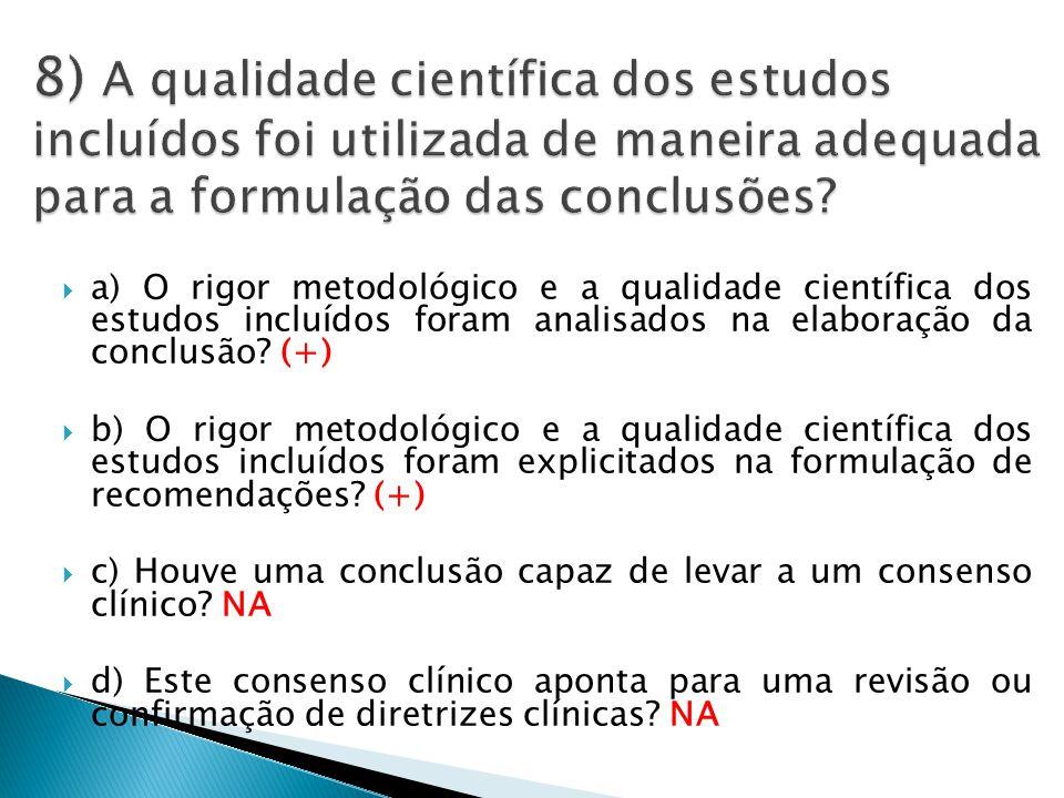  a) O rigor metodológico e a qualidade científica dos estudos incluídos foram analisados na elaboração da conclusão.