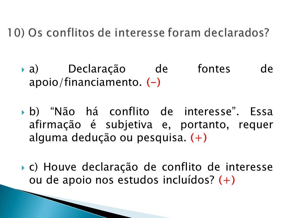  a) Declaração de fontes de apoio/financiamento. (-)  b) Não há conflito de interesse .